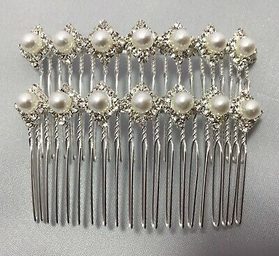 £3.95 • Buy Pack Of 2 Bridal.Wedding.Crystal.Jewel.Diamante.Side Comb.Hair.Silver Plated.