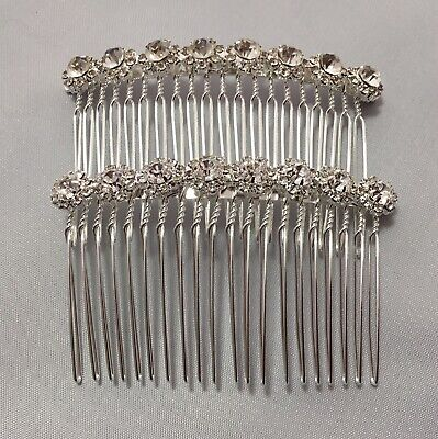 £4.70 • Buy Set Of2 Comb.Bridal.Wedding.Crystal.Jewel.Diamante.Side Comb.Hair.Silver Plated.