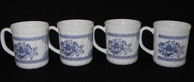 Arcopal France Honorine Coffee Tea Mugs Cups Set Of 4 White With Blue Roses • 39.99$