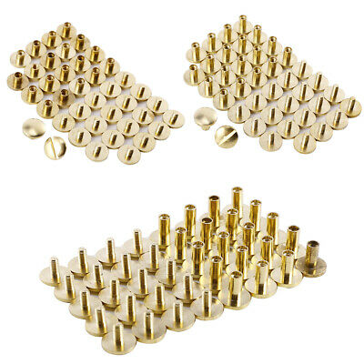 £7.91 • Buy 20x 4 6 8mm Belt Screw Leather Craft Chicago Nail Brass Solid Rivets Stud Head