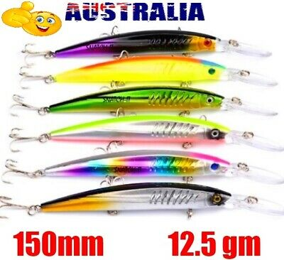 AU15.50 • Buy 6 Deep Diving Minnow Fishing Lures Kingfish, Makerel, Tuna, Trevally, Barra Cod