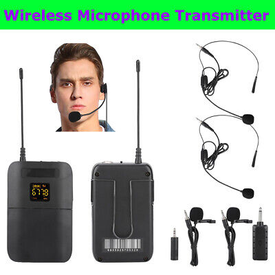 £11.34 • Buy Wireless Microphone Transmitter Interview Lapel Clip Mic Receiver Headset Set
