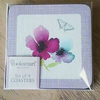 £3.50 • Buy Cooskmart Chatsworth Floral Collection Set Of Four Coasters, Flowers / Butterfly