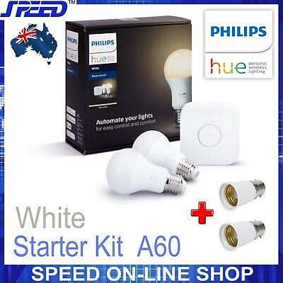 AU109 • Buy PHILIPS Hue - White - Starter Kit A60/E27 - (Bridge + E27 Bulbs + B22 Adapters)