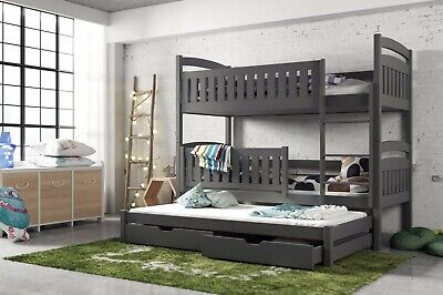 Children Wooden Pine Bunk Bed Trundle Bed BLANKA With Drawers In Graphite • 589£
