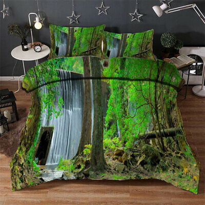 AU98.55 • Buy Forest Waterfall 3D Quilt Duvet Doona Cover Set Single Double Queen King Print