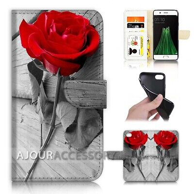 AU12.99 • Buy ( For Oppo A57 ) Wallet Flip Case Cover AJ40048 Red Rose