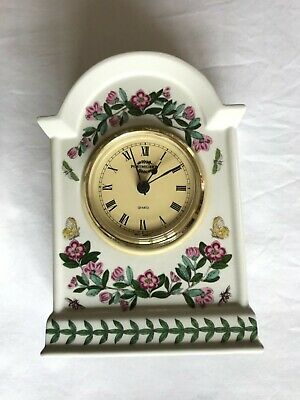 Portmeirion Botanic Garden Rhododendron Flowers Butterflies China Mantel Clock • 35£