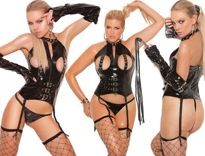 Elegant Moments Black Wet Look Vinyl Cupless Bustier/Body With Buckle Detail • 45.95£