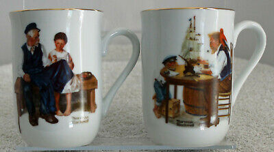 $ CDN18.50 • Buy Norman Rockwell Mug Cup Gold Gilded 1982 Set Of 2
