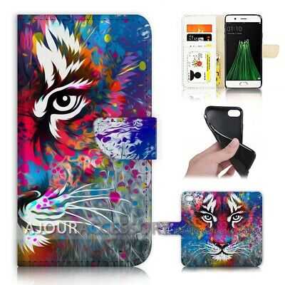 AU12.99 • Buy ( For Oppo A57 ) Wallet Flip Case Cover AJ40286 Tiger
