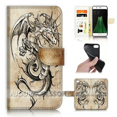 AU12.99 • Buy ( For Oppo A57 ) Wallet Flip Case Cover AJ40206 Dragon
