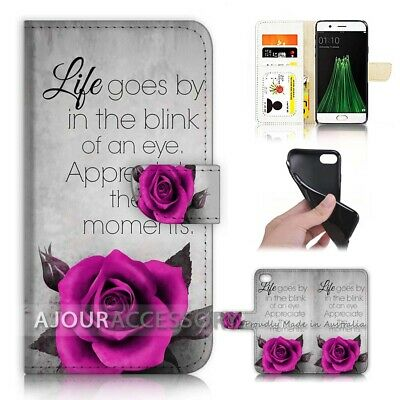 AU12.99 • Buy ( For Oppo A57 ) Wallet Flip Case Cover AJ40217 Rose