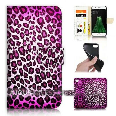 AU12.99 • Buy ( For Oppo A57 ) Wallet Flip Case Cover AJ40342 Purple Leopard