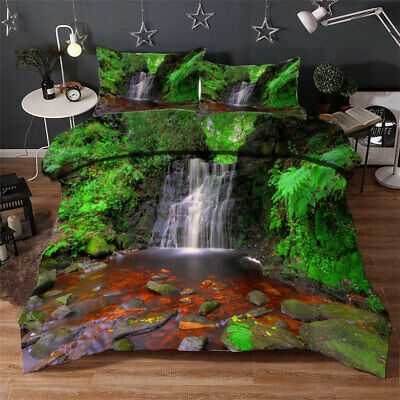 AU94.55 • Buy Waterfall Pool 3D Quilt Duvet Doona Cover Set Single Double Queen King Print