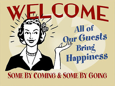£4.45 • Buy Welcome Funny, Retro Metal Aluminium Sign Vintage Style/ Kitchen/ Gift