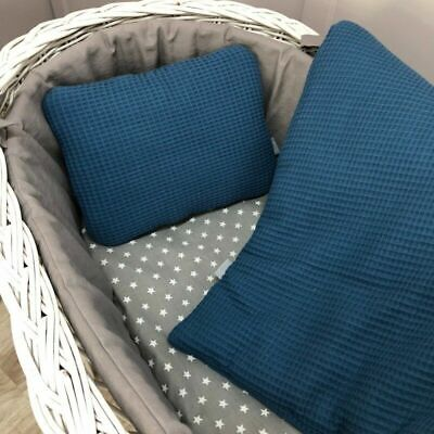 £19.99 • Buy Small Navy Blue Baby Bedding Set 71x80cm - For Space Saver Cot, Mini Cot, Crib