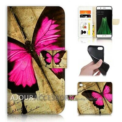 AU12.99 • Buy ( For Oppo A57 ) Wallet Flip Case Cover AJ40612 Pink Butterfly