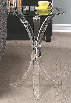 $84.98 • Buy Snack Accent End Table With Round Glass Top And Acrylic Base -Free Shipping-