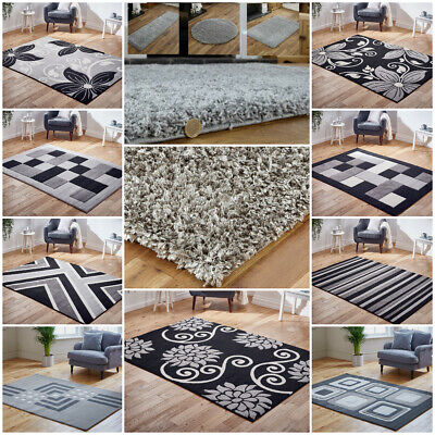 Modern Small Large Runner Shaggy Carved Floral Silver Grey Clearance Budget Rug • 15.29£