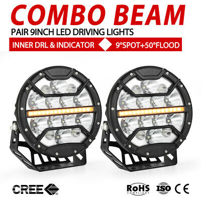 AU198.99 • Buy 9 Inch CREE LED Driving Lights Combo Beam Round Spot Built-in DRL & Indicator