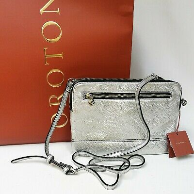 AU149 • Buy New OROTON Bueno Double Clutch Crossbody Bag Leather Silver