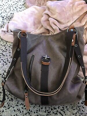 AU45 • Buy Lovely Two Tone Brown Canvas Backpack/ Tote Bag