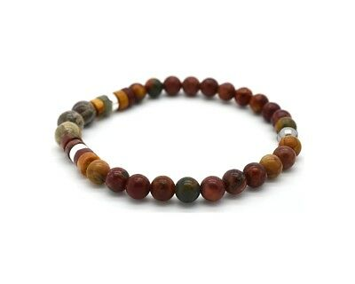 £22.70 • Buy Mens Beads Bracelet Picasso Jasper And Coral Fossil 925 Sterling Silver Handmade