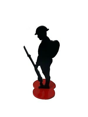 Metal Soldier Silhouette Desktop Tommy-red Base-statue/figurine/army/ • 19.99£