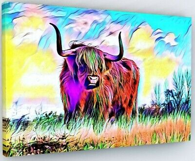 £27.97 • Buy Stunning Highland Cow Canvas Picture Print Wall Art Colour Splash #w42
