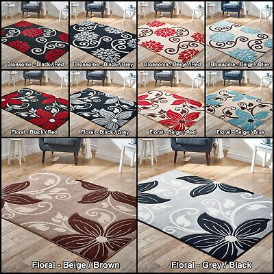 New Modern Floral Flowers Low Cost Price Rugs Soft Area Sale Red Grey Silver Rug • 44.99£