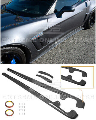 For 05-13 Corvette C6 Z06 | ZR1 Style HYDRO CARBON FIBER Side Skirts Mud Flaps • 289.99$