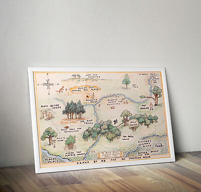 Winnie The Pooh, 100 Aker Wood Map, Print, Poster, Disney, Wall Art, Picture • 4.14£