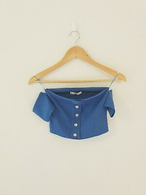 AU10 • Buy Pull And Bear Blue Crop Top M