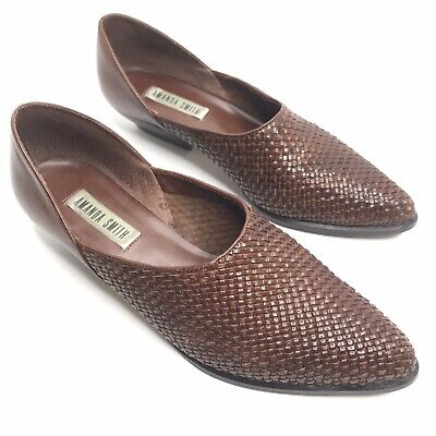 $31.44 • Buy Amanda Smith Brown Woven Leather Boot Shoes Slip On Size 7.5  M Brazil