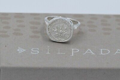 abde0dd61 Silpada NEW Sterling Silver Flower Motif Small Coin Size 8 Ring R2754 •  35.99$