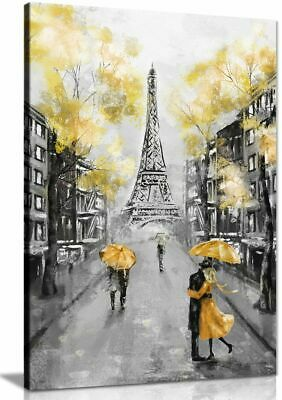 Yellow Black & White Paris Painting Canvas Wall Art Picture Print • 11.99£