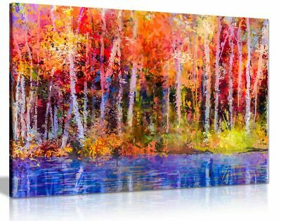 Oil Painting Red Yellow Autumn Trees Nature Canvas Wall Art Picture Print • 34.99£