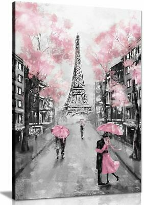 Pink Black & White Paris Painting Canvas Wall Art Picture Print • 11.99£