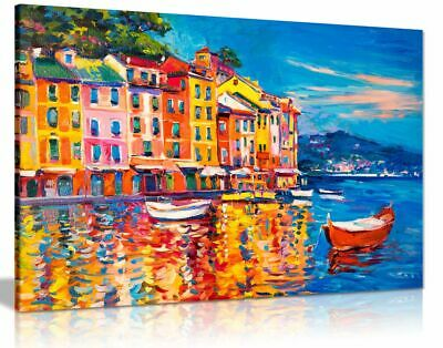 Colourful Oil Painting Boats Sea Harbour Canvas Wall Art Picture Print • 34.99£