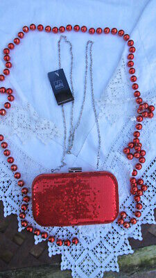 Cool New Red Sequin LEKO, London CLUTCH BAG Opt Silver Chain Shoulder Strap Bnwt • 49.99£