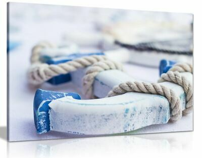 Coastal Blue And White Wooden Anchor Bathroom Canvas Wall Art Picture Print • 11.99£