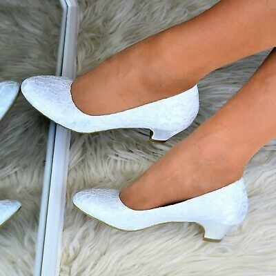 Womens Lace Bridal Shoes Slip On Low Heel Ladies Wedding Closed Full Toe Courts • 19.95£