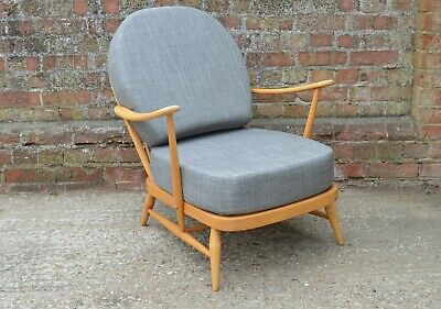 Ercol 203 Windsor Armchair, Refurbished, New Cushions With Grey Weave Covers • 595£