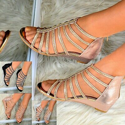 Ladies Womens Low Wedge Heel Sandals Gladiator Flats Shoes Diamante Strappy Size • 19.95£