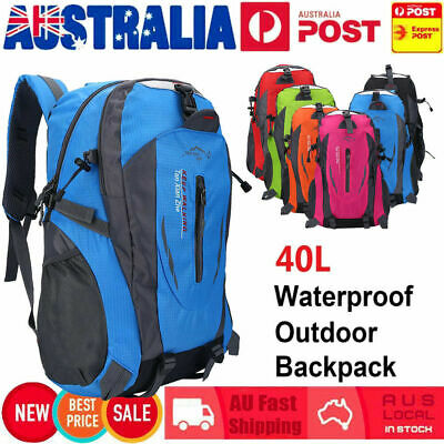 AU17.89 • Buy 40L Waterproof Outdoor Backpack Sport Hiking Camping Luggage Travel Rucksack Bag