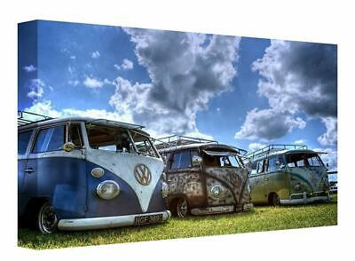 £14.99 • Buy Camper Van Old Vintage Retro Canvas Print Wall Art. Picture Framed Ready To Hang
