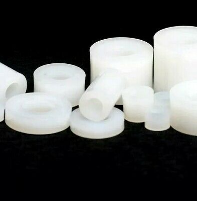 White Nylon Spacer Standoff Bush 20mm Diameter All Hole Sizes And Lengths Look! • 5.40£