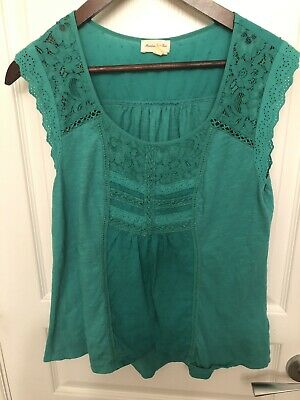 $ CDN15 • Buy Anthropologie Meadow Rue Small Green Top Lace Eyelet