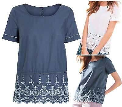 £7.95 • Buy NEXT White Blue 100% Cotton Broderie Lace Hem Top Blouse Tunic CLEARANCE